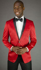 Mens 2 Button Red Velvet Slim Fit Jacket