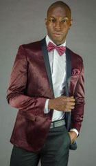 Burgundy ~ Maroon ~ Wine Color Two Button Notch Party Suit & Tuxedo & Blazer Suit W/ Black Lapel + Pants $195