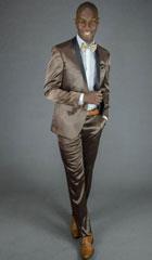 SKU#MK641 Mens 2 Button Brown Shawl Lapel Slim Fit Tuxedo