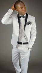 SKU#MK642 Mens 2 Button White Shawl Lapel Slim Fit Tuxedo