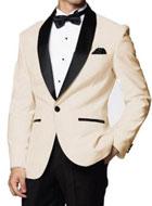 SKU#MK644 Mens Downtown Ivory and Black Skyfall Tuxedo Jacket