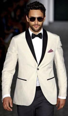 SKU#MK645 Mens Ivory and Black Satin Lapels Dress The Groom Holds The Wedding Suit (Jacket + Pants)