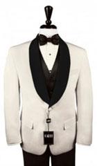 SKU#MK647 Mens Custom Black Satin Shawl Lapels on Ivory Jacket