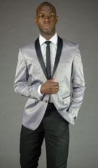 SKU#MK648 Mens 2 Button Silver Shawl Lapel Slim Fit Tuxedo