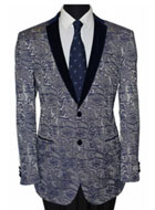 Men's Tazio Slim Fit Exotic Floral Pattern Jacket Blue $139