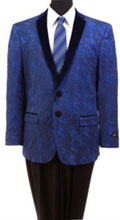 Men's Tazio Slim Fit Exotic Floral Pattern Jacket Navy $139