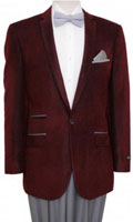 Men's Tazio Fancy Houndstooth Check Single Breasted 1 Button Jacket Burgundy $139