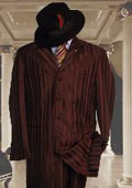 Shiny Brown And Brown Stripe Ton on Ton Shadow Stripe Mens Fashion Dress Zoot Suits $185