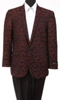 Men's Tazio Abstract Design Slim Fit Fashion Jacket Burgundy $139