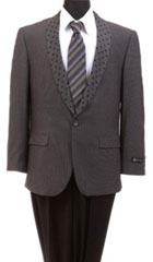 Men's Tazio Dotted Shawl Lapel Slim Fit Fashion Jacket Gray $139
