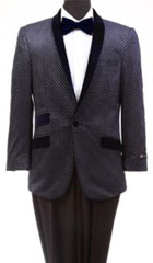 Men's Tazio Retro Cross Weave Slim Fit Dinner Jacket Navy $139