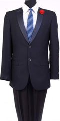 Men's Tazio Satin Shawl Lapel Slim Fit Fashion Jacket Navy $139