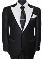 Men's Tazio Velvet Trim Fancy 1 Button Fashion Jacket Black/White $139