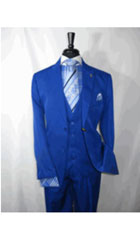Royal Blue Vested Mens Suit 2 Button Single Breasted Peaked Lapel Suit