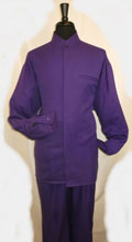 Mens Mandarin Banded Shirt and Matching Solid Pleated Pants No Collar Shirt with 1 Besom Pocket Purple Walking Set