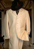 Shiny Ivory~OFF White~Cream Ton on Ton Shadow Stripe ~ Pinstripe Mens Fashion Zoot Suit