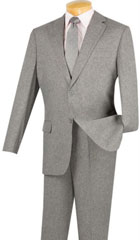 SKU#MK738 Mens Vinci Textured Weave 2 Piece Poplin Discount Suit Gray