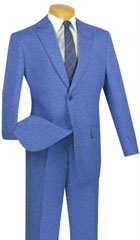 SKU#MK739 Mens Vinci Textured Weave 2 Piece Poplin Discount Suit Blue