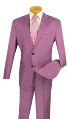 SKU#MK741 Mens Vinci Textured Weave 2 Piece Poplin Discount Suit Plum Burgundy Magenta color
