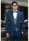 SKU#MK820 Mens 1 Button Two Toned Black Lapled Regular Fit Jacket & Pants Evening Shawl Lapel Italian Tuxedo Midnight Navy Blue