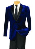 SKU#MK822 Mens Slim Fit Velvet Tuxedo With Flat Front Pant Navy