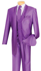 Mens Shiny Sharkskin Satin Flashy 2 Button Purple ~ Violet suit Vested 3 Piece