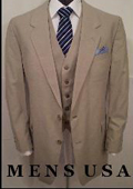 SKU# B3PC High Quality 2 Button Solid Tan ~ Beige Vested Suits 100% Wool Mens Suits On Sale $275