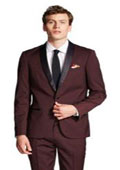 SKU#RM1414 Mens Slim Fit With Front Button Shawl Collar Tuxedo Jacket Burgundy