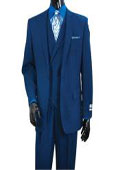 SKU#SS-4RF Vittorio Mens Indigo Mini Plaid Vested Fashion Suit
