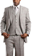 SKU#RM1451 Mens Tony Blake Peak Lapel 3 Piece Plaid Fashion Suit Gray
