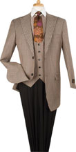 SKU#RM1453 Mens Plaid ~ Window Pane Low Cut Fashion 3 Piece Wool Fashion Suit Tan
