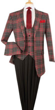 SKU#RM1454 Mens Plaid ~ Window Pane Peak Lapel Fashion Plaid Wool Fashion Suit Red