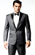 SKU#RM1457 Mens Single 1 Button Charcoal Grey ~ Gray Peak Lapel Suit or Tuxedo Black Lapeled