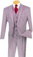 SKU#RM1469 Mens classic Fit With Vest Glen Plaid Lapel Fashion Suit Burgundy