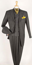 SKU#RM1500 Mens Apollo King Peak Lapel 3 Piece Wool Fashion Suit Grey with Brown Stripe