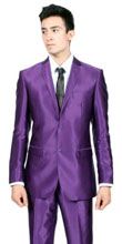 SKU#RM1505 Mens Slim Fit Purple Shiny Sharkskin Sateen Looking Suit 2 Buttons $199
