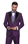 SKU#RM1523 Mens Blacked Lapel Two Toned Suit Tux Jacket + Pants & Vest Flat Front Natalie Suit Tuxedo Purple$240