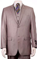 SKU#RM1555 Mens Regular Fit Two 2 Button Vested Suit 3 Pieces Pleated Pants Side Vents With Sheen Sharkskin mini pattern H.Taupe