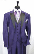 SKU#RA29 Mens Two Toned Tuxedo 3 Button Single Breasted Peak Lapel Suit Jacket SharkSkin Purple $199