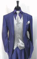 SKU#RA48 Mens Two Toned Tuxedo Trimmed Jacket With Matching Satin Vest and Hankie Purple
