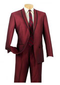 SKU#RA93 Mens One Button Slim Fit Tuxedo Shawl Satin Trim Lapel Burgundy Maroon