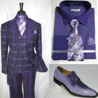 SKU#RM1634 Mens Side Vents With Notch Lapel Single Breasted Suit Vested Jacket Purple Black$149