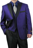 SKU#RM1680 Mens Four Button 3-Piece Fashion Suit Black Trim Purple$149