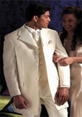 SKU#106 Ivory~OFF White~Cream Tuxedo 35.5\ Length Coat Large Satin Notch Lapels Seven Button