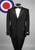 2 Button style peak lapel tuxedo Pleated Pants (Regular Fit Jacket) Luxurious Peak Lapel Super Fine Wool Tuxedo, 2 Button, Most Expensive $199