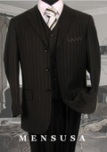 SKU#SM08 Nicest Black tone on tone Pinstripe Vested 3 Buttons Mens Suits