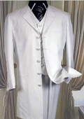 5 buttons White 3 Pc suit with vest 38 inch length jacket Notch collar $139