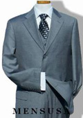 Solid Light Gray with Super 140's Extra Fine 3pc with Vest Back Side Vents