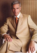 R&H Camel ~ Khaki~Bronz 2 Button Side Vents With Flat Front Pants Suit