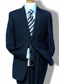 R&H 2 Button Navy Blue Side Vents Jacket With Flat Front Pants Super 150 Wool Suit Sepera $189